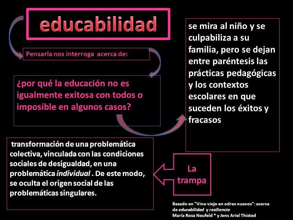 ¿por qué la educación no es igualmente exitosa con todos o imposible en algunos casos? se mira al niño y se culpabiliza a su familia, pero se dejan en