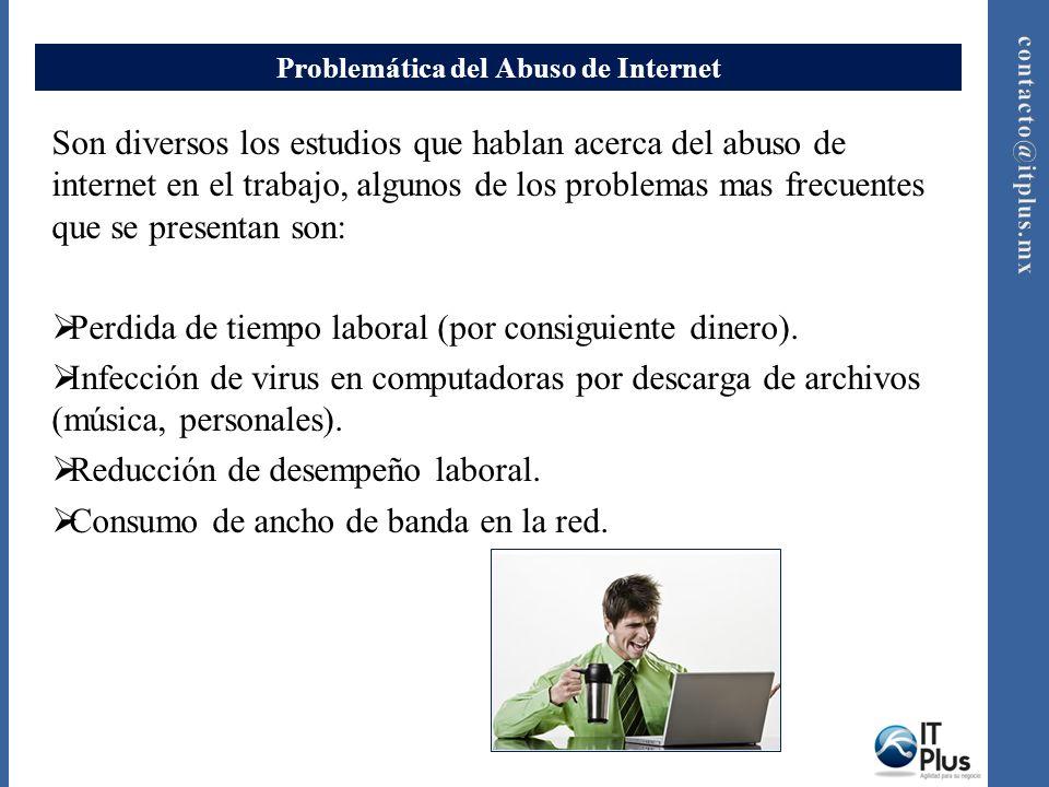 Problemática del Abuso de Internet Son diversos los estudios que hablan acerca del abuso de internet en el trabajo, algunos de los problemas mas frecu