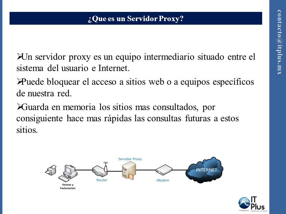¿Que es un Servidor Proxy? Un servidor proxy es un equipo intermediario situado entre el sistema del usuario e Internet. Puede bloquear el acceso a si