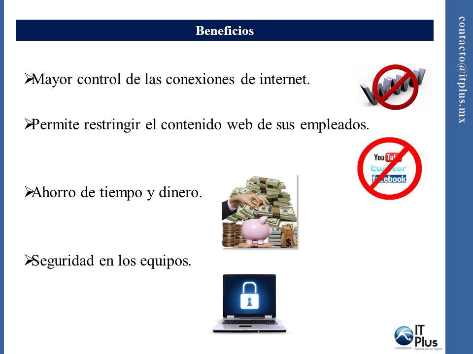 Beneficios Mayor control de las conexiones de internet. Permite restringir el contenido web de sus empleados. Ahorro de tiempo y dinero. Seguridad en