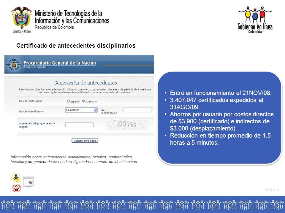 Certificado de antecedentes disciplinarios Entró en funcionamiento el 21NOV/08.