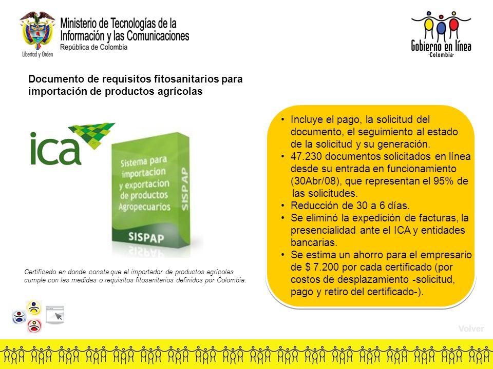 Documento de requisitos fitosanitarios para importación de productos agrícolas Incluye el pago, la solicitud del documento, el seguimiento al estado de la solicitud y su generación.