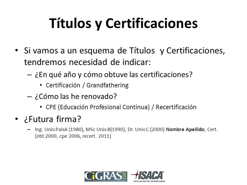 Títulos y Certificaciones Si vamos a un esquema de Títulos y Certificaciones, tendremos necesidad de indicar: – ¿En qué año y cómo obtuve las certificaciones.