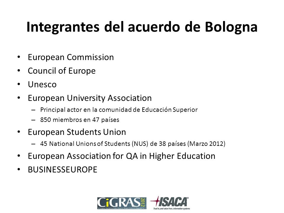 Integrantes del acuerdo de Bologna European Commission Council of Europe Unesco European University Association – Principal actor en la comunidad de Educación Superior – 850 miembros en 47 países European Students Union – 45 National Unions of Students (NUS) de 38 países (Marzo 2012) European Association for QA in Higher Education BUSINESSEUROPE