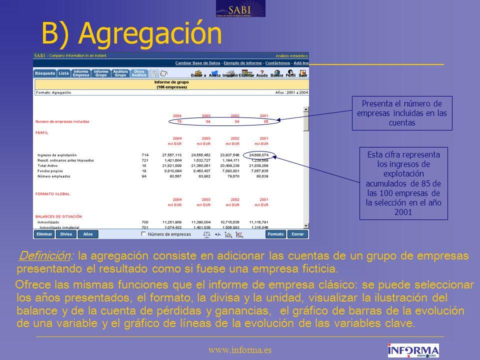www.informa.es B) Agregación Definición: la agregación consiste en adicionar las cuentas de un grupo de empresas presentando el resultado como si fuese una empresa ficticia.
