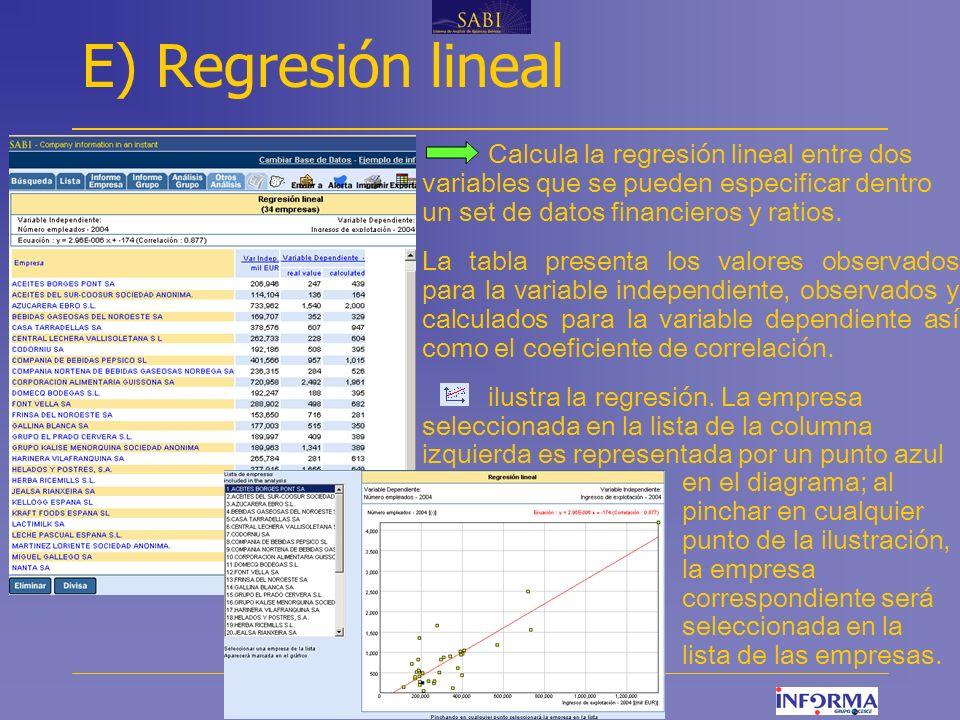 www.informa.es E) Regresión lineal Calcula la regresión lineal entre dos variables que se pueden especificar dentro un set de datos financieros y ratios.