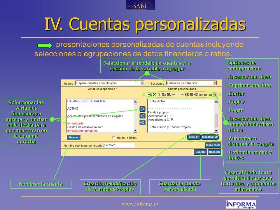 www.informa.es presentaciones personalizadas de cuentas incluyendo selecciones o agrupaciones de datos financieros o ratios.