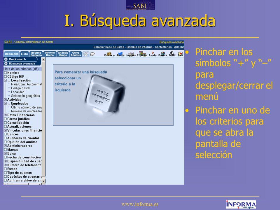 www.informa.es Búsqueda por actividad Marcar la(s) casillas(s) del código o subcódigo de actividad deseado El número de empresas incluidas en la búsqueda aparece arriba de la pantalla