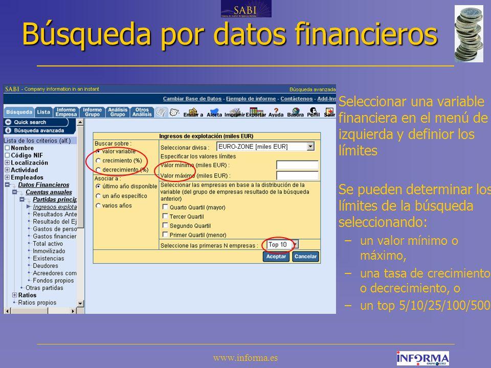 www.informa.es Búsqueda por accionista Se puede buscar empresas por: –el nombre del accionista (o de la participada), –el país, –el tipo y el porcentaje de participación, –el número de de accionistas.