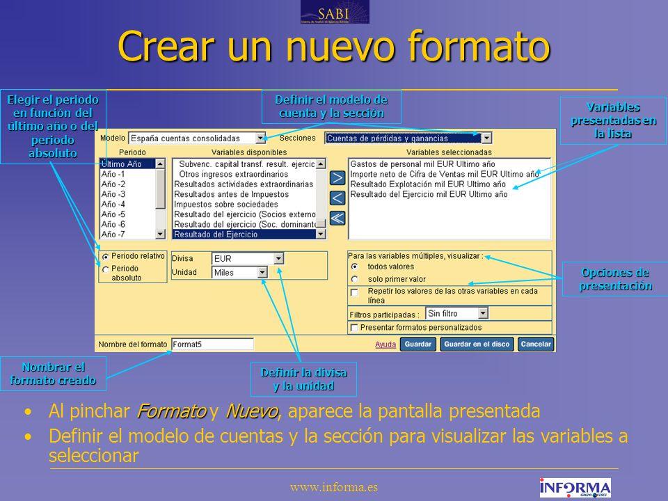 www.informa.es A) Segmentación - funcionalidades Permite cambiar el año de referencia Permite alternar la presentación de la tabla Permite seleccionar la variable descriptiva.
