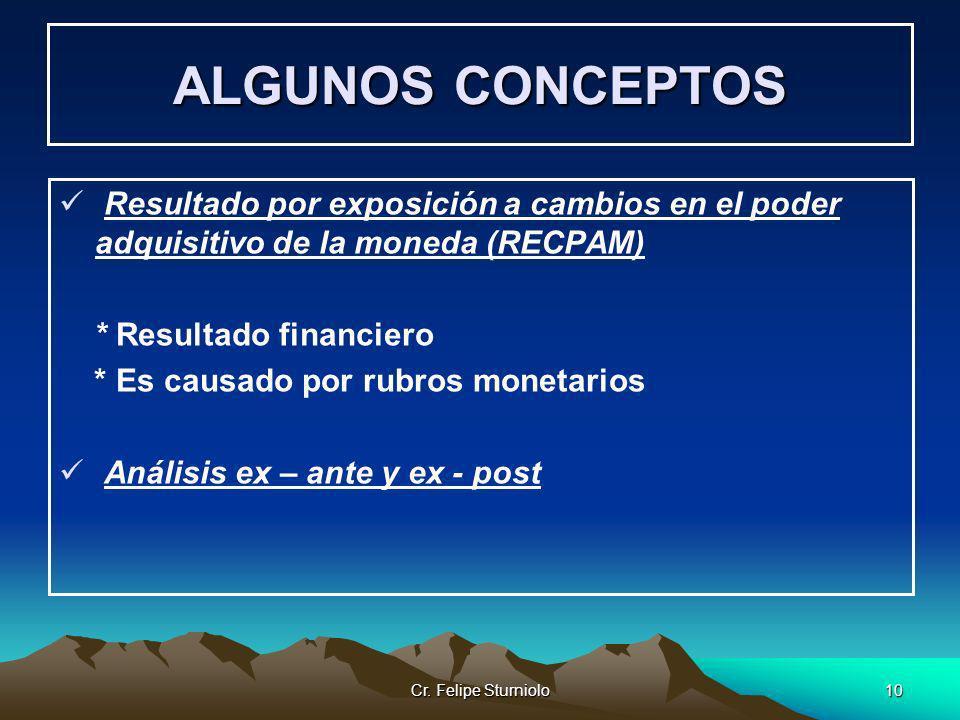 Cr. Felipe Sturniolo10 ALGUNOS CONCEPTOS Resultado por exposición a cambios en el poder adquisitivo de la moneda (RECPAM) * Resultado financiero * Es