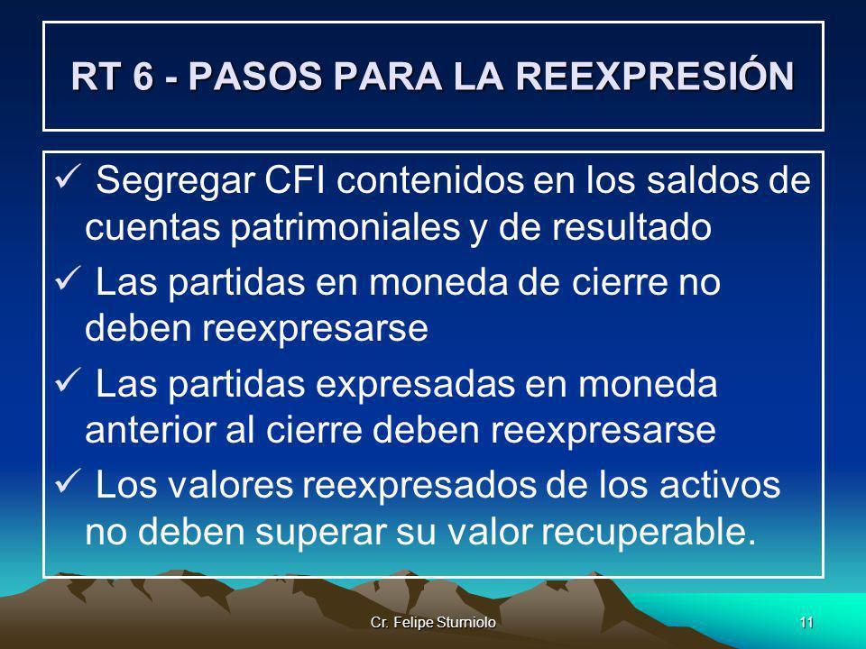 Cr. Felipe Sturniolo11 RT 6 - PASOS PARA LA REEXPRESIÓN Segregar CFI contenidos en los saldos de cuentas patrimoniales y de resultado Las partidas en