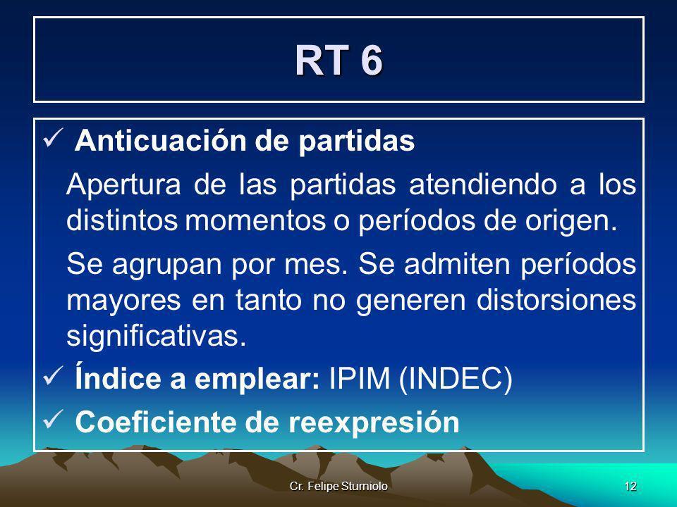 Cr. Felipe Sturniolo12 RT 6 Anticuación de partidas Apertura de las partidas atendiendo a los distintos momentos o períodos de origen. Se agrupan por