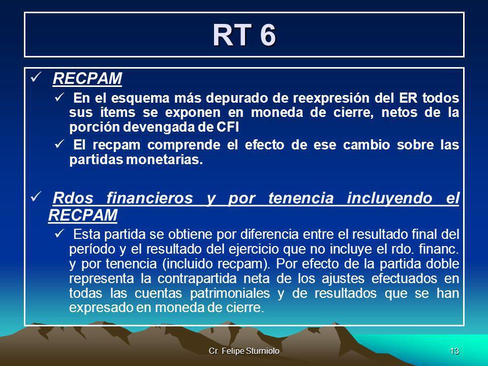 Cr. Felipe Sturniolo13 RT 6 RECPAM En el esquema más depurado de reexpresión del ER todos sus items se exponen en moneda de cierre, netos de la porció
