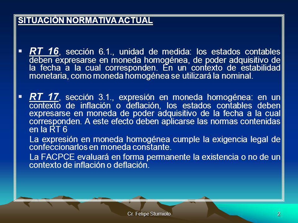 Cr. Felipe Sturniolo2 SITUACIÓN NORMATIVA ACTUAL RT 16, sección 6.1., unidad de medida: los estados contables deben expresarse en moneda homogénea, de