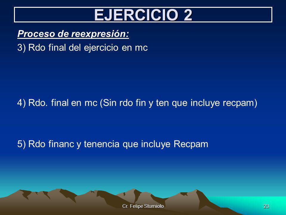 Cr. Felipe Sturniolo23 EJERCICIO 2 Proceso de reexpresión: 3) Rdo final del ejercicio en mc 4) Rdo. final en mc (Sin rdo fin y ten que incluye recpam)