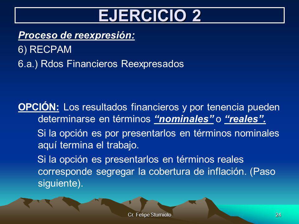 Cr. Felipe Sturniolo24 EJERCICIO 2 Proceso de reexpresión: 6) RECPAM 6.a.) Rdos Financieros Reexpresados OPCIÓN: Los resultados financieros y por tene