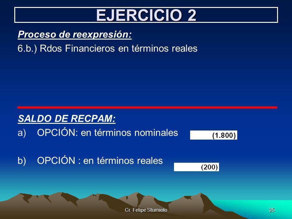 Cr. Felipe Sturniolo25 EJERCICIO 2 Proceso de reexpresión: 6.b.) Rdos Financieros en términos reales SALDO DE RECPAM: a)OPCIÓN: en términos nominales