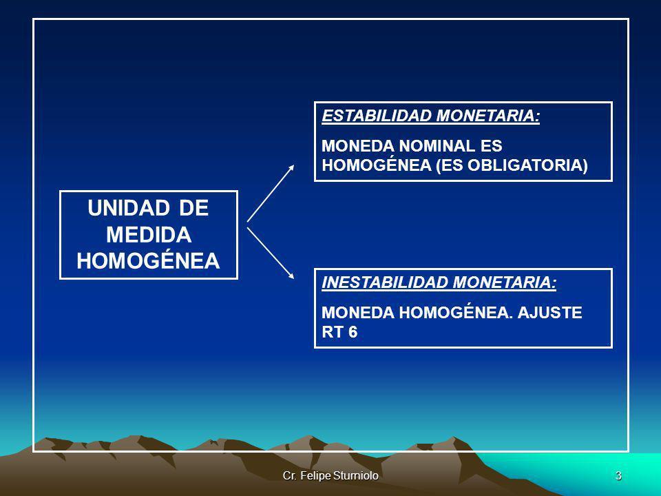 Cr. Felipe Sturniolo3 UNIDAD DE MEDIDA HOMOGÉNEA ESTABILIDAD MONETARIA: MONEDA NOMINAL ES HOMOGÉNEA (ES OBLIGATORIA) INESTABILIDAD MONETARIA: MONEDA H