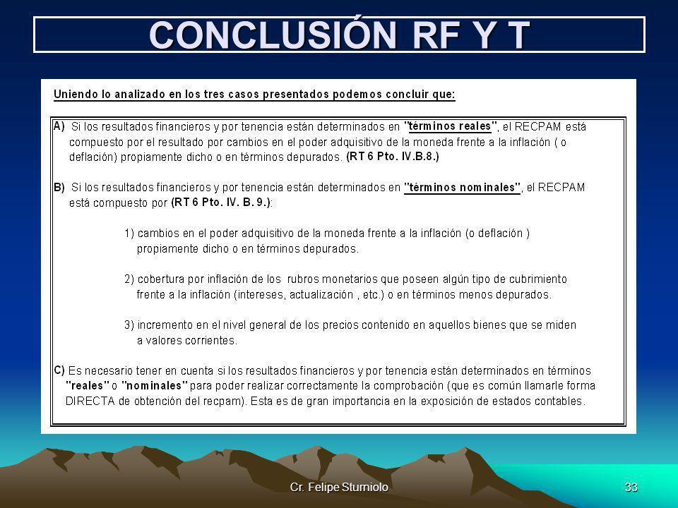 Cr. Felipe Sturniolo33 CONCLUSIÓN RF Y T