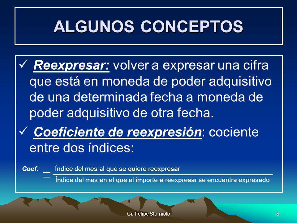Cr. Felipe Sturniolo8 ALGUNOS CONCEPTOS Reexpresar: volver a expresar una cifra que está en moneda de poder adquisitivo de una determinada fecha a mon