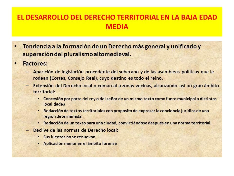 PREDOMINIO DE LOS DERECHOS DE AMBITO LOCAL EN LA ALTA EDAD MEDIA El Derecho local o comarcal estará compuesto por: – Usos y costumbres de los grupos s