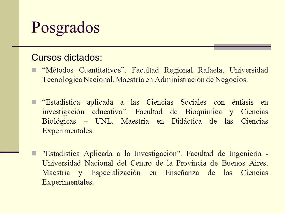 Posgrados Cursos dictados: Métodos Cuantitativos. Facultad Regional Rafaela, Universidad Tecnológica Nacional. Maestría en Administración de Negocios.
