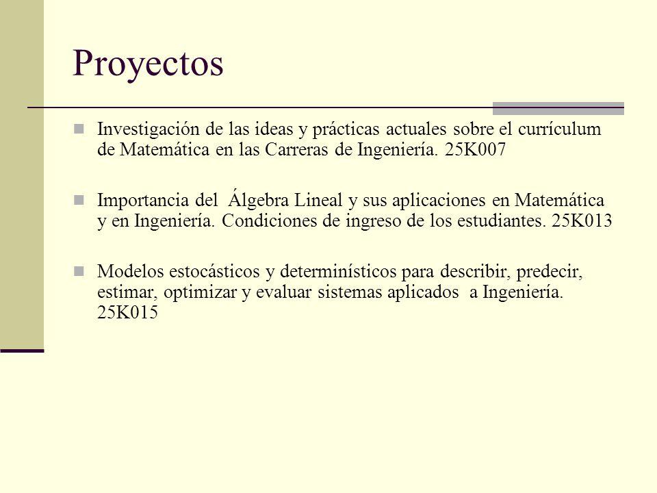 Proyectos Investigación de las ideas y prácticas actuales sobre el currículum de Matemática en las Carreras de Ingeniería. 25K007 Importancia del Álge
