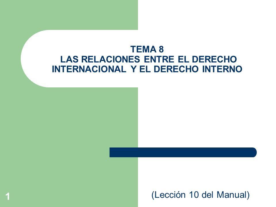 1 TEMA 8 LAS RELACIONES ENTRE EL DERECHO INTERNACIONAL Y EL DERECHO INTERNO (Lección 10 del Manual)