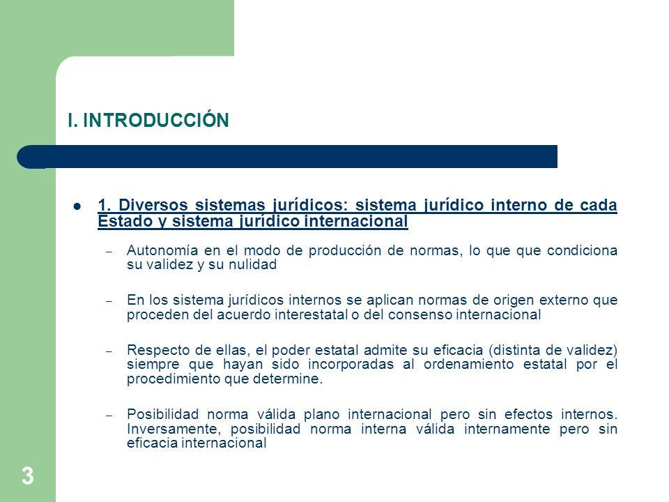 3 I. INTRODUCCIÓN 1. Diversos sistemas jurídicos: sistema jurídico interno de cada Estado y sistema jurídico internacional – Autonomía en el modo de p