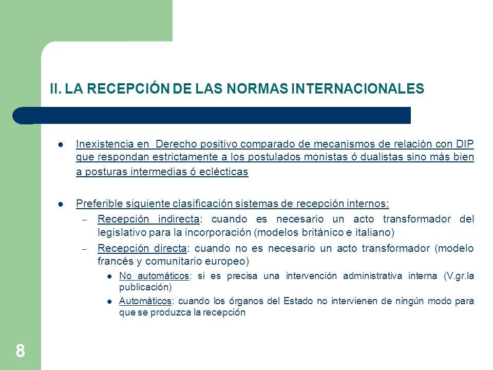 8 II. LA RECEPCIÓN DE LAS NORMAS INTERNACIONALES Inexistencia en Derecho positivo comparado de mecanismos de relación con DIP que respondan estrictame