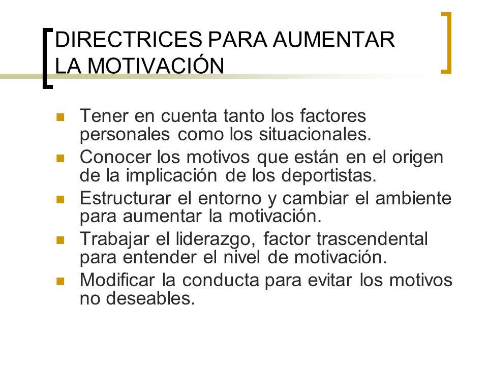 DIRECTRICES PARA AUMENTAR LA MOTIVACIÓN Tener en cuenta tanto los factores personales como los situacionales. Conocer los motivos que están en el orig