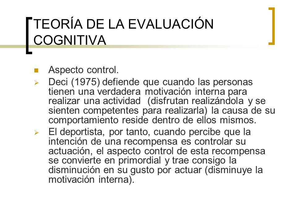 TEORÍA DE LA EVALUACIÓN COGNITIVA Aspecto control. Deci (1975) defiende que cuando las personas tienen una verdadera motivación interna para realizar
