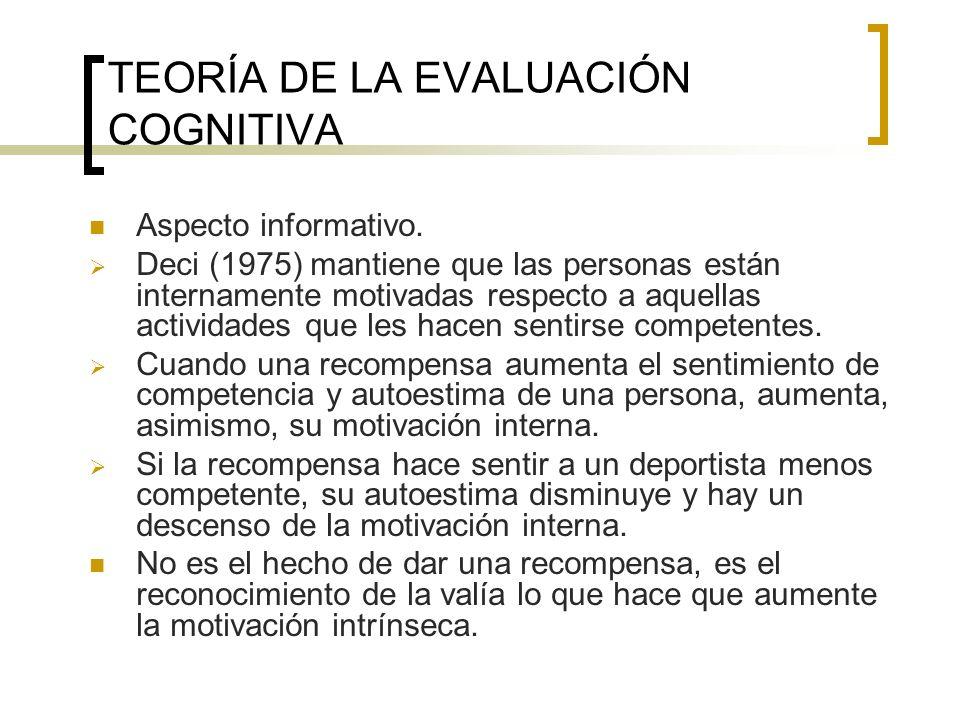 TEORÍA DE LA EVALUACIÓN COGNITIVA Aspecto informativo. Deci (1975) mantiene que las personas están internamente motivadas respecto a aquellas activida