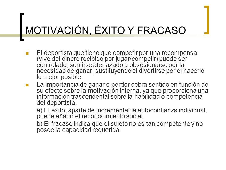 MOTIVACIÓN, ÉXITO Y FRACASO El deportista que tiene que competir por una recompensa (vive del dinero recibido por jugar/competir) puede ser controlado