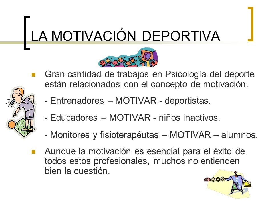 LA MOTIVACIÓN DEPORTIVA Gran cantidad de trabajos en Psicología del deporte están relacionados con el concepto de motivación. - Entrenadores – MOTIVAR