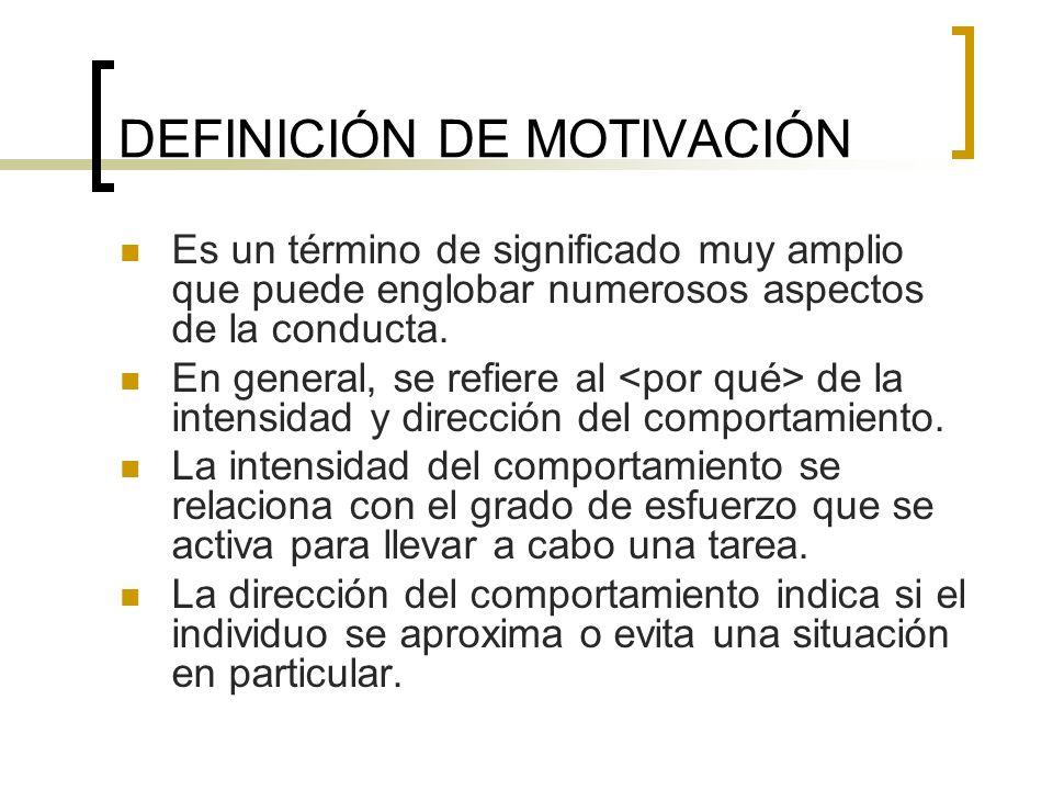 DEFINICIÓN DE MOTIVACIÓN Es un término de significado muy amplio que puede englobar numerosos aspectos de la conducta. En general, se refiere al de la