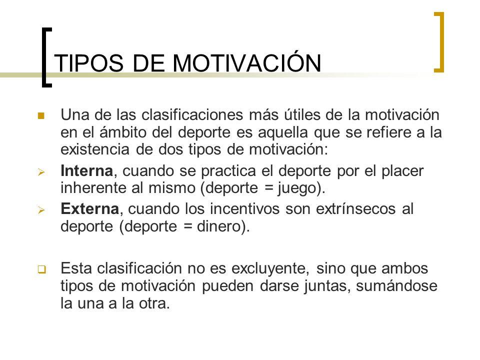 TIPOS DE MOTIVACIÓN Una de las clasificaciones más útiles de la motivación en el ámbito del deporte es aquella que se refiere a la existencia de dos t