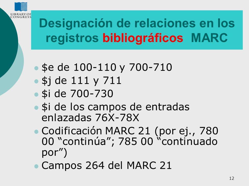 12 Designación de relaciones en los registros bibliográficos MARC $e de 100-110 y 700-710 $j de 111 y 711 $i de 700-730 $i de los campos de entradas e