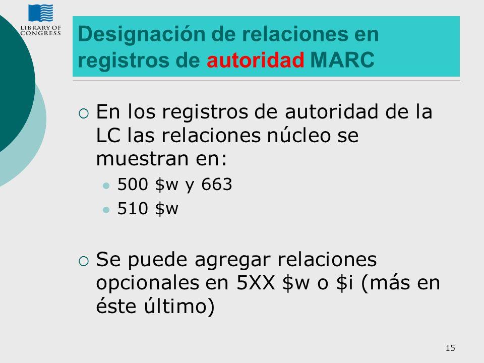 15 Designación de relaciones en registros de autoridad MARC En los registros de autoridad de la LC las relaciones núcleo se muestran en: 500 $w y 663