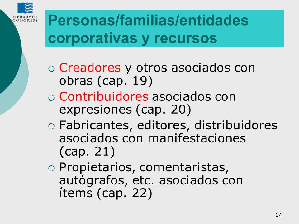 17 Personas/familias/entidades corporativas y recursos Creadores y otros asociados con obras (cap. 19) Contribuidores asociados con expresiones (cap.
