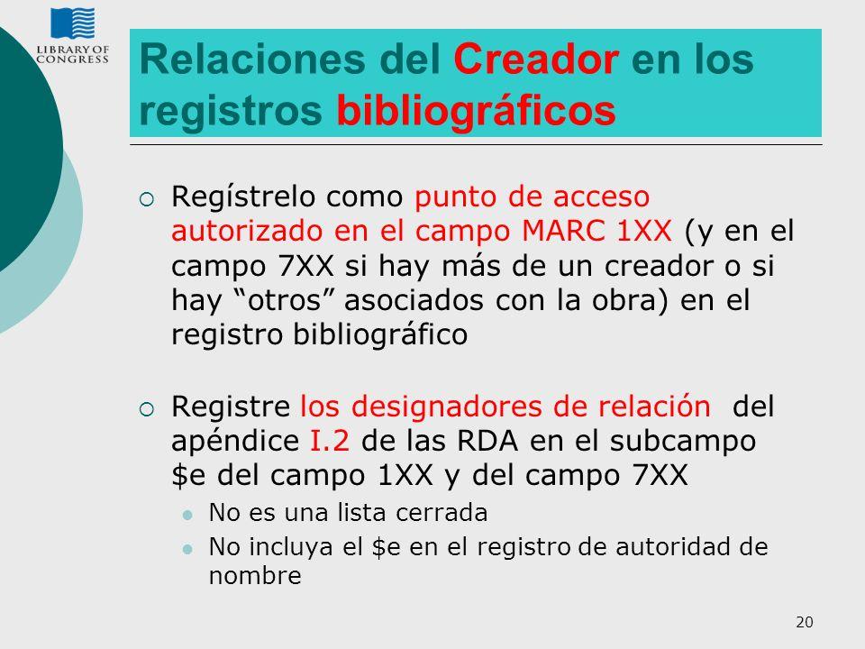 20 Relaciones del Creador en los registros bibliográficos Regístrelo como punto de acceso autorizado en el campo MARC 1XX (y en el campo 7XX si hay má