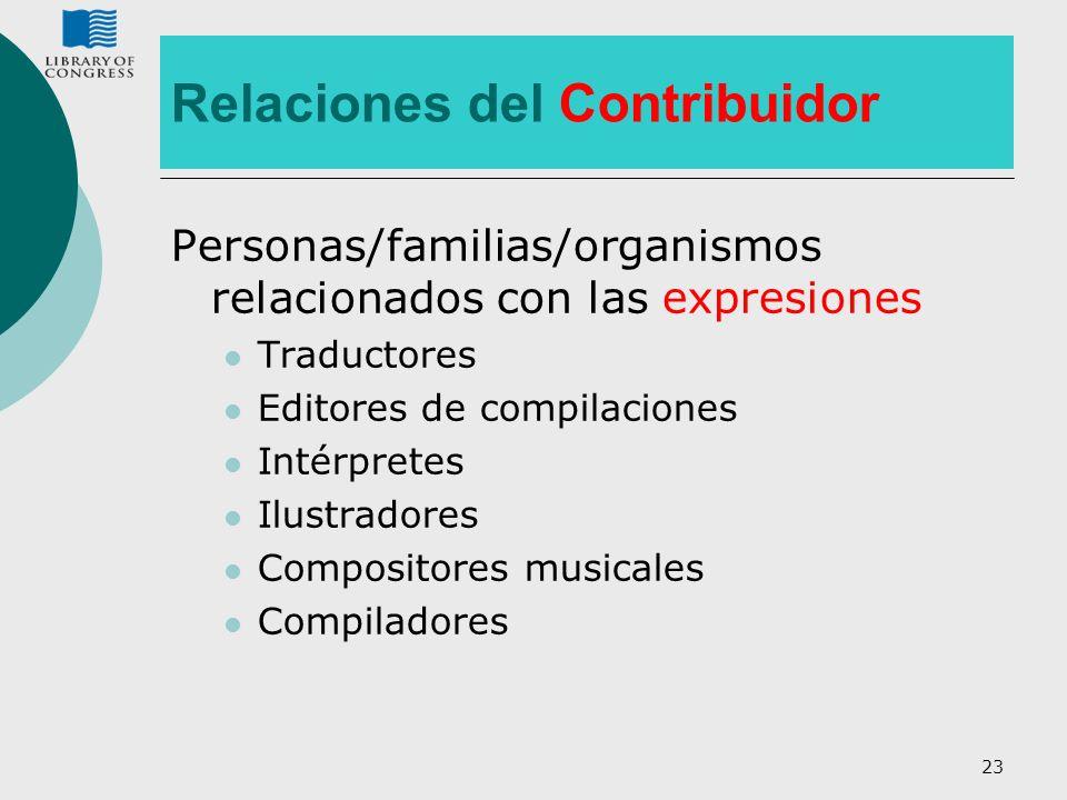 23 Relaciones del Contribuidor Personas/familias/organismos relacionados con las expresiones Traductores Editores de compilaciones Intérpretes Ilustra
