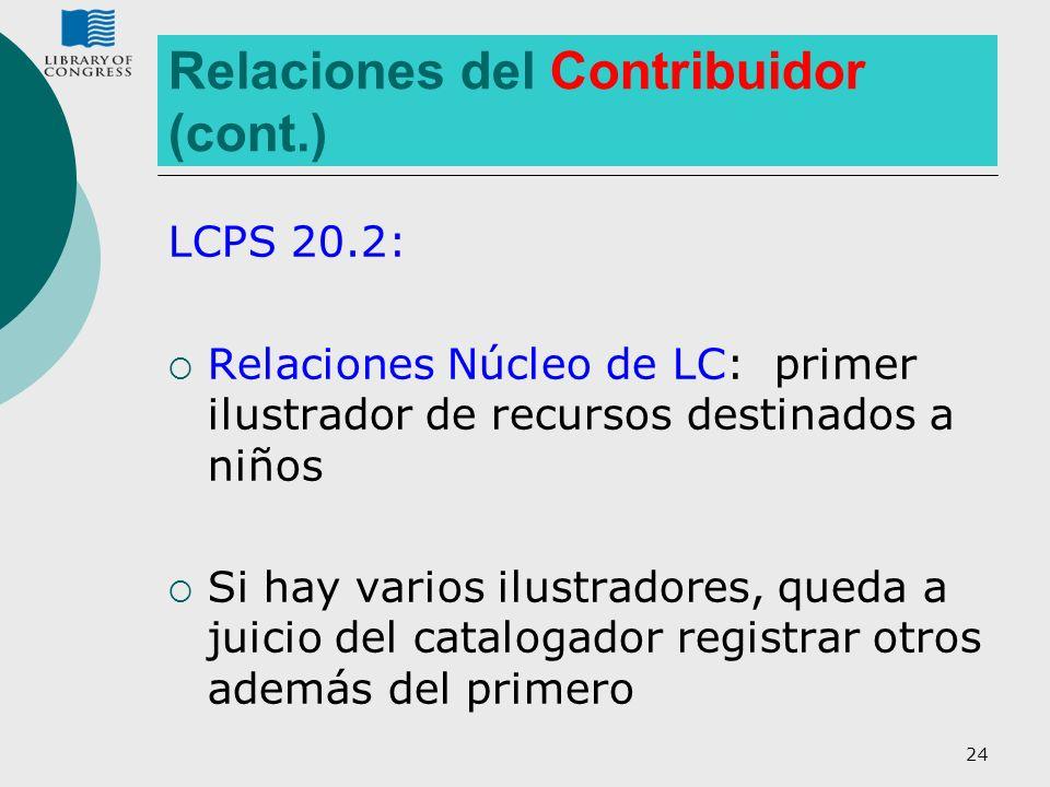 24 Relaciones del Contribuidor (cont.) LCPS 20.2: Relaciones Núcleo de LC: primer ilustrador de recursos destinados a niños Si hay varios ilustradores