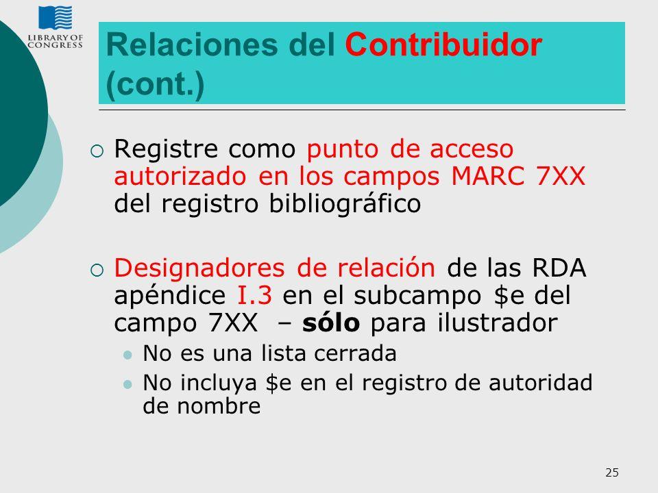 25 Relaciones del Contribuidor (cont.) Registre como punto de acceso autorizado en los campos MARC 7XX del registro bibliográfico Designadores de rela