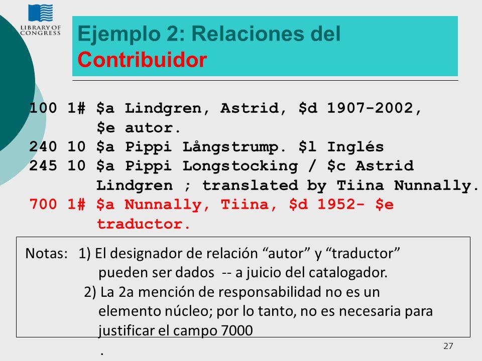 27 Ejemplo 2: Relaciones del Contribuidor 100 1# $a Lindgren, Astrid, $d 1907-2002, $e autor. 240 10 $a Pippi Långstrump. $l Inglés 245 10 $a Pippi Lo