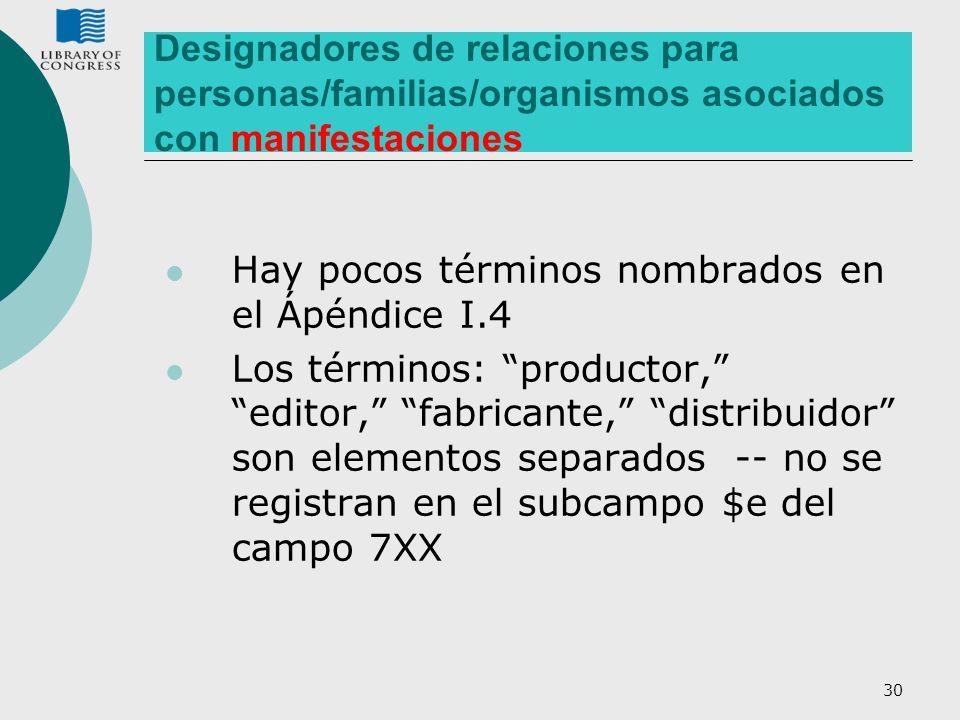 30 Designadores de relaciones para personas/familias/organismos asociados con manifestaciones Hay pocos términos nombrados en el Ápéndice I.4 Los térm