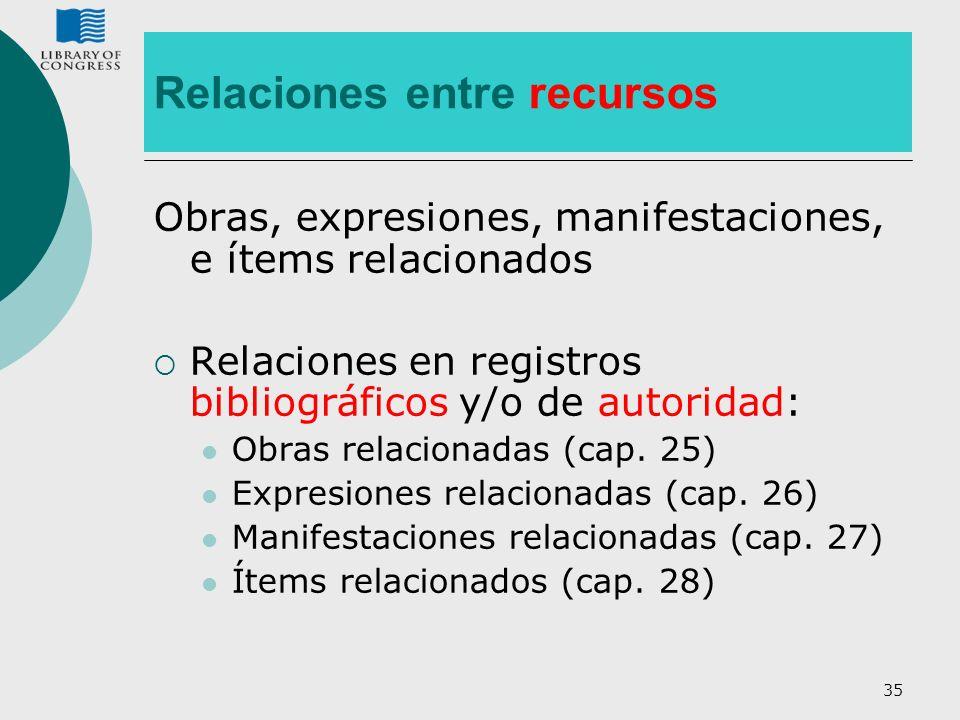 35 Relaciones entre recursos Obras, expresiones, manifestaciones, e ítems relacionados Relaciones en registros bibliográficos y/o de autoridad: Obras