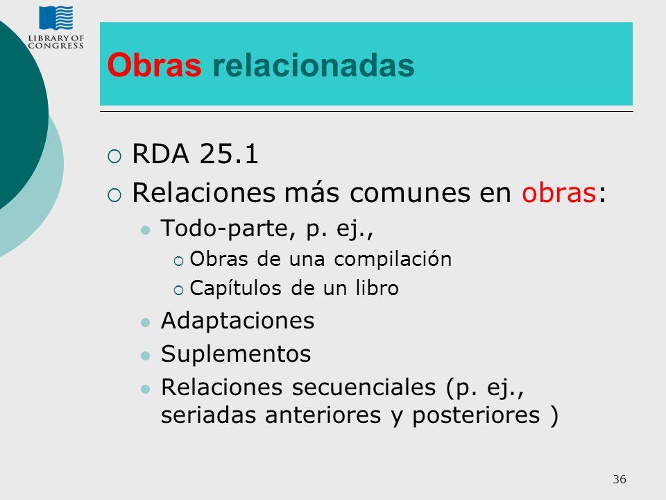36 Obras relacionadas RDA 25.1 Relaciones más comunes en obras: Todo-parte, p. ej., Obras de una compilación Capítulos de un libro Adaptaciones Suplem