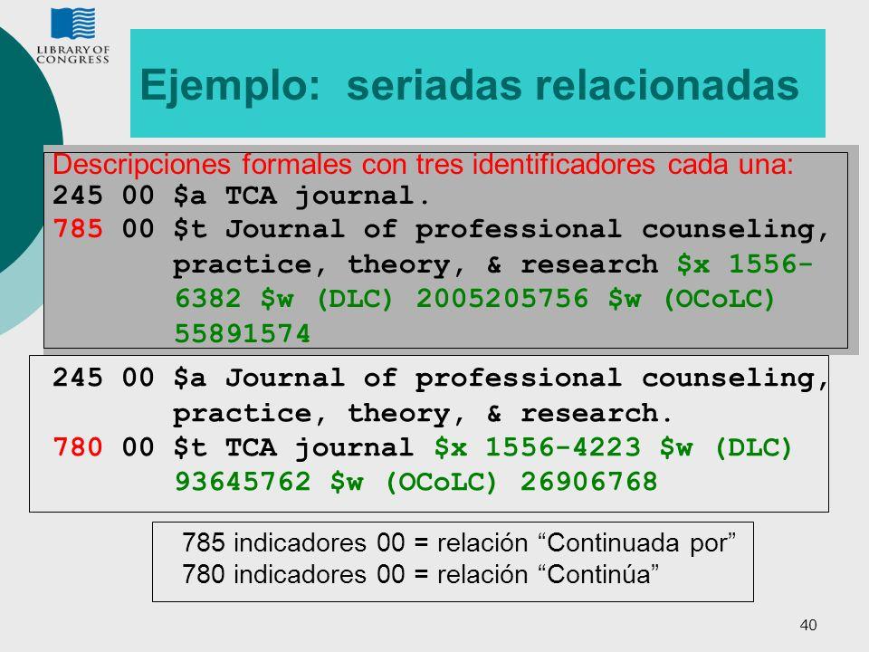 40 Ejemplo: seriadas relacionadas Descripciones formales con tres identificadores cada una: 245 00 $a TCA journal. 785 00 $t Journal of professional c